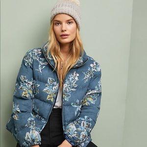 Anthropologie Floral Puffer Jacket
